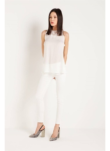 Fracomina Dantelli Kolsuz Bluz Beyaz
